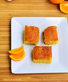 Eggless Orange Cake recipe without condensed milk,curd,butter-Using fresh Orange juice and vegetable oil. Orange Brownies, No Egg Desserts, Dessert Recipes, Eggless Orange Cake, Vegan Catering, Jiffy Cornbread Mix, Cake Recipes Without Eggs, Cooking Curry, Eggless Baking