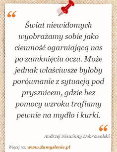 Cytat: Świat niewidomych wyobrażamy sobie jako ciemność ogarniającą nas po zamknięciu... - Zamyslenie.pl