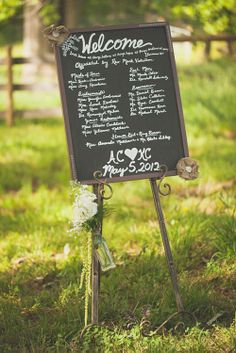 Welcome chalk board at outdoor farm wedding in Asheville, NC, photos by The Schultzes via junebugweddings.com