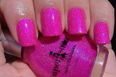 adore this hot pink sparkly nail polish