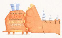 Dino Invite designed by Luke Tudor. Invitation Design, Invitations, Invite, Bookends, This Is Us, Place Card Holders, Shapes, Illustrations, Illustration