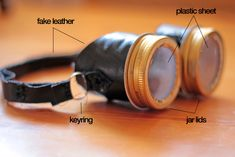Homemade steampunk goggles.  To go with Gabe's jet pack that I just pinned!  Too cute!