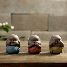 "buddha chubbies - these extra chunky mini-monks bring joy, laughter, and love into any space. our three wise buddha chubbies embody the proverbial principle ""see no evil, hear no evil, speak no evil""."