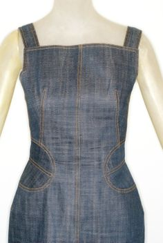 1990s Alaia Denim Dress | From a collection of rare vintage evening dresses at http://www.1stdibs.com/fashion/clothing/evening-dresses/
