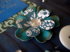 blue rhinestone flower