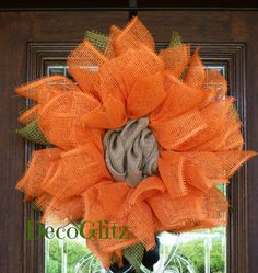 ORANGE  FALL SUNFLOWER Wreath by decoglitz on Etsy