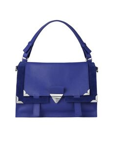 Orciani - leather blue bag with shoulder strap and silver metal hardware. A  bright colour and a strong character! A bag that is both chic and modern. 0439b2bd3d99c
