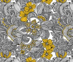 """Doodles black and yellow fabric by valentinaharper on Spoonflower $60/ Standard Rolls (24"""" x 144"""")"""