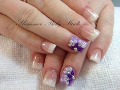 Gel nails, french nails, glitter nails, 3d sculpted flowers by Shimmer Body Studio.