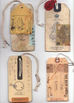 tags - i love recycling tags adding literal scraps + partial photos to make book marks for family and to hang in my house on lonely knobs