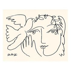 Lift me like an olive branch and be my homeward dove. ~ Leonard Cohen Drawing: The Face Of Peace X by Pablo Picasso Pablo Picasso, Kunst Picasso, Picasso Drawing, Picasso Art, Picasso Paintings, Art And Illustration, Picasso Dove Of Peace, Graphic Prints, Art Prints