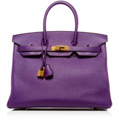 Heritage Auctions Special Collection Hermès 35cm Ultraviolet Clemence... ($25,750) ❤ liked on Polyvore featuring bags, handbags, purple handbags, hermes purse, hermes handbags, hermes bag and purple purse
