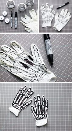DIY: SPOOKY SKELETON HANDS When it comes to Halloween, I definitely prefer haunted—spooky music, cobwebs and ghouls—to gore. And these super easy DIY decorations are just the right amount of haunting. Dulceros Halloween, Halloween Projects, Holidays Halloween, Halloween Decorations, Halloween Costumes, Halloween Makeup, Festa Hotel Transylvania, Holiday Crafts, Holiday Fun