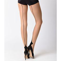 Leg Avenue Nude & Black Cuban Heel Stockings ($12) ❤ liked on Polyvore featuring intimates, hosiery, tights, nude, leg avenue pantyhose, leg avenue stockings, leg avenue tights, holiday stockings and nude pantyhose
