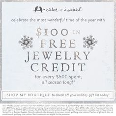 Free $100 credit to spend on ANYTHING. Tinyurl.com/ashleias-jewels