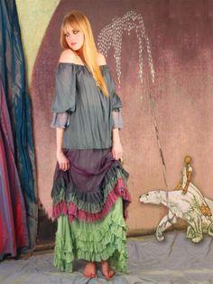 Gypsymoon Four Winds Skirt  Ruffeled silk skirt by GypsymoonBoston, $598.00
