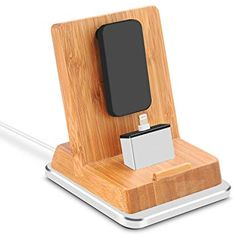 Rerii Bamboo Charge Stand with Aluminum Base, iPhone Charging Dock, iPhone Charger, Phone Charger Holder, Iphone Charger, Iphone 5s, Iphone Docking Station, Mac, Video Games For Kids, Ipad Air, Cell Phone Accessories, Bamboo