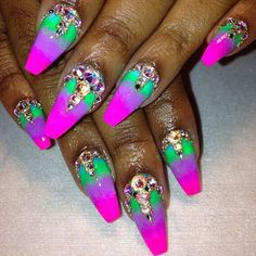 Ombre Nails with Stones