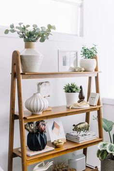 home decor | house decoration | ladder shelf | indoor plants | white | wooden shelf | interior design | simple | airy