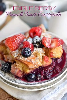 This Triple Berry French Toast Casserole is going to be a new family favorite! Incredibly easy and bursting with berry flavor! Great for breakfast or brunch, Christmas, Easter, Mother's Day and more! // Mom On Timeout Best Brunch Recipes, Gourmet Recipes, Breakfast Recipes, Cooking Recipes, Favorite Recipes, Milk Recipes, Breakfast Ideas, Holiday Recipes, Cooking Tips
