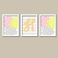 Yellow Pink Gray Monogram Flower Burst Letter Initial Set of 3 Trio Prints Chevron Wall Decor Abstract Art Bedroom Picture Nursery on Etsy, $28.00