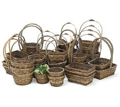 """Assorted medium stain bamboo and sea grass baskets. Includes PVC liners.Small Square: 3 3/4""""H X 6""""W X 6""""D.Round: 4""""H X 5 1/2""""Opening.Round: 4 1/2""""H X 7""""Opening.Round: 4 1/2""""H X 8""""Opening.Rectangle: 3 1/2""""H X 8'W X 5 3/4""""D."""