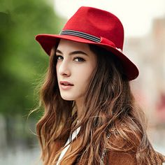 Any color is good. Just like the brim and style. Fashion wool fedora hat for women vintage bow felt hats