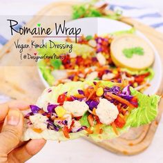 Romaine Wrap with Vegan Kimchi Dressing. Tap picture for recipe :)