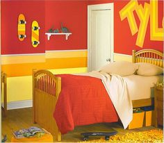 maybe not as bold of an orange, but great idea for my boys' room