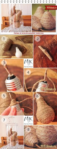 Груша из использованной лампочки своими руками + » Дизайн & Декор своими…