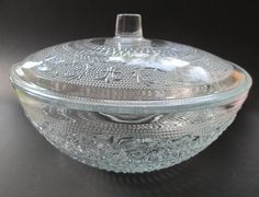Vintage Clear Heavy Cut Glass Bowl with floral and diamonds design  Kig Malaysia Glass Bowl  Snack glass bowl  Candy  Jewelry dish