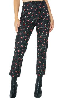 Valfré Cherry Bomb Acapulco Pants I just want a bite of yer cherry pie bb. These lil' high waisted pants have a zipper closure and cherries printed all ova cuz yer as sweet as they come.