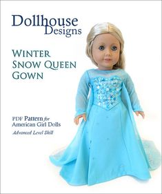 Winter Snow Queen Gown 18 Inch Doll Clothes Pattern for American Girl Dolls - perfect costume for halloween or a holiday gift! www.pixiefiare.com
