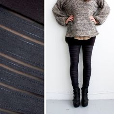 Booty Short Leggings - Sheer Stripes and Black Bamboo - The Winter is coming..