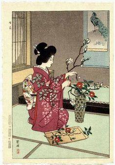 Japanese Ukiyoe Shin-hanga Woodblock print by UkiyoeCosmosPlus Japanese Artwork, Japanese Painting, Japanese Prints, Japanese Design, Chinese Painting, Japan Illustration, Botanical Illustration, Woodblock Print, Art Chinois