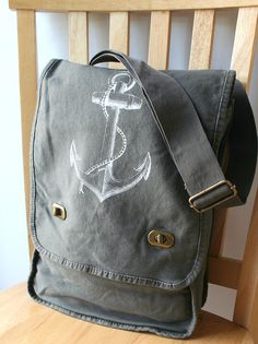 Anchor Field Bag Canvas Screen Printed by catbirdcreatures on Etsy
