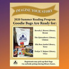 SUMMER READING PROGRAM UPDATE: Registrants who have the libraries in Byram, Clinton, Terry, or Utica as their library branch in READsquared may pick up their goodie bags if they have not already during normal library hours via curbside pickup. Enjoy! 🎁 #SRP2020 #ImagineYourStory