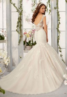 564dfc5939ad Alençon Lace Appliqués with Frosted Beading onto Tulle Mermaid Morilee  Bridal Wedding Dress | Style 5407