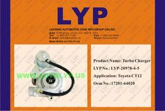 LYP-20978-4-5TURBO CHARGERCOMPRESOR17201-64020REPLACEMENT FOR TOYOTACT12