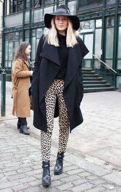 fedora hat leopard pants