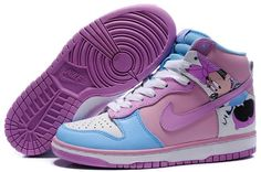 pretty nice cc629 80f8e Brand new and cheap Nike Dunk High Shoes 2012 Cut Womens Minnie Mouse  Orchid Sky Blue White are on hot sale with great discount