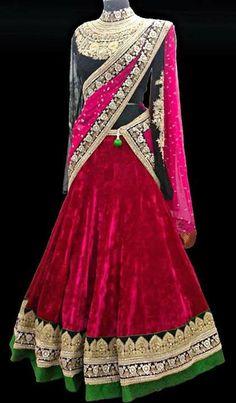 Velvet Half Sari Full Hands Blouse | Saree Blouse Patterns