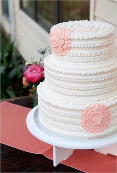 Wedding Cakes: White Ruffled Cake with Pink Flower Details // Photo by Kelly Cameron Photography on Wedding Chicks