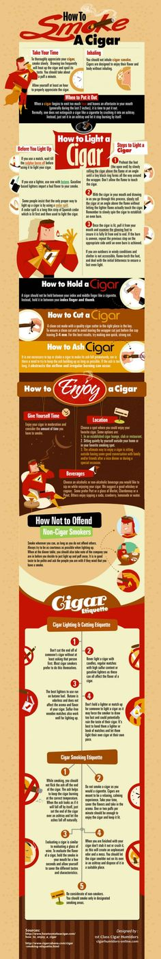 """Cigar always remain the symbol of aristocracy. The demand for cigar remained the same as it was many decades ago. For its great aroma and taste, cigar is all time favourate for all around the world.Like its manufacturing, while smoking a cigar also have few steps to follow. This Infographic on, """"How to smoke a Cigar"""" guides you how to make your cigar smoking a more enjoyable experience. It discusses every aspects of cigar smoking."""