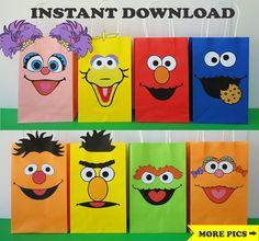 Sesame Street FAVOR BAGS/ Sesame Street Party Bags/ Sesame