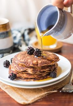 Soft and simple Coconut Flour Pancakes made with grain and nut free flours. #GlutenFree + #Paleo + #CoconutFlour #PaleoBreakfast #HealthyBreakfast Healthy Cake, Healthy Fruits, Healthy Smoothies, Healthy Meals For Two, Healthy Foods To Eat, Healthy Sides, Healthy Recipe Videos, Super Healthy Recipes, Coconut Flour Pancakes