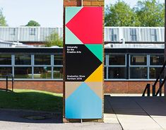 Every year the University for the Creative Arts hosts campus summer shows across its four campuses based in the south of England. They showcase work by undergraduate and postgraduate students who are studying a variety of creative subjects. Directional Signage, Wayfinding Signs, Event Signage, Outdoor Signage, Arrow Signage, Park Signage, Web Banner Design, Web Design, Environmental Graphic Design
