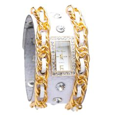 """Searching for a new glam watch? Your timing is impeccable because this shining star has it all, including cool chain accents and rhinestones. br>  THE TREND: """"To Dial For,"""" featuring gilt accents.    WEAR TO date night with an LBD and ankle-strap pumps.     ACCESSORIZE by day with an oversized white tote."""