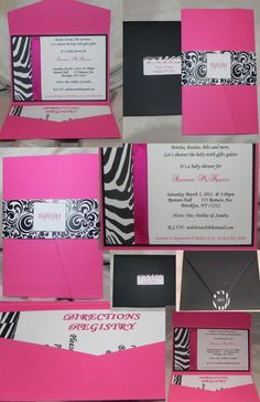 Zebra stripe fuchsia black and white by MySentimentsInvites, $75.00