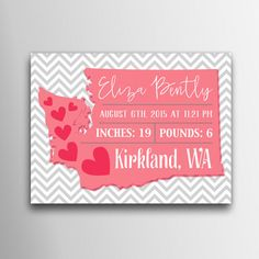 Digital Download State Birth Announcement by indulgemyheart #home #decor #nursery #birth #announcement #pink #gray #white #chevron #pattern #state #washington #stats #new #baby #gift #wall #art #decor #print #children #kids